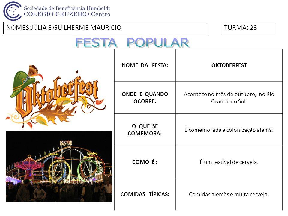 NOME DA FESTA:Festa da Primavera ONDE E QUANDO OCORRE: Em Curitiba, no mês de setembro quando chegada da Primavera.