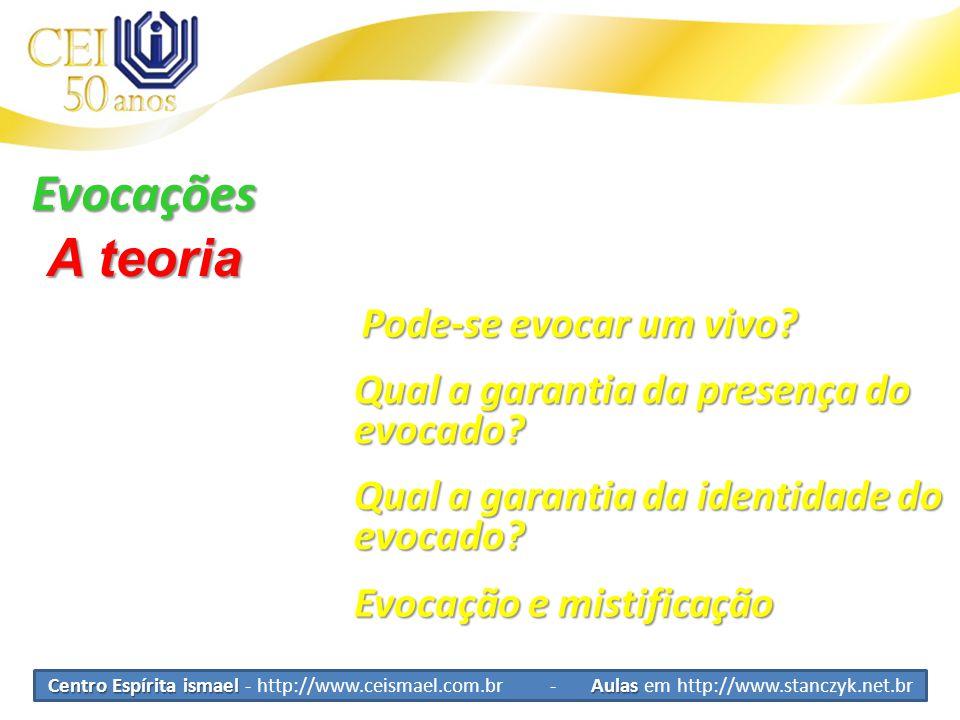 Centro Espírita ismael Aulas Centro Espírita ismael - http://www.ceismael.com.br - Aulas em http://www.stanczyk.net.br Evocações A teoria Pode-se evocar um vivo.