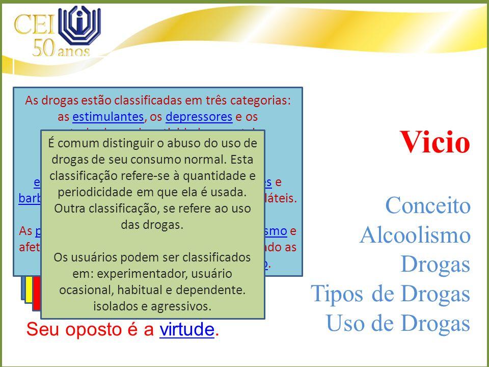 Vicio Conceito Alcoolismo Drogas Tipos de Drogas Uso de Drogas Vício (do latim