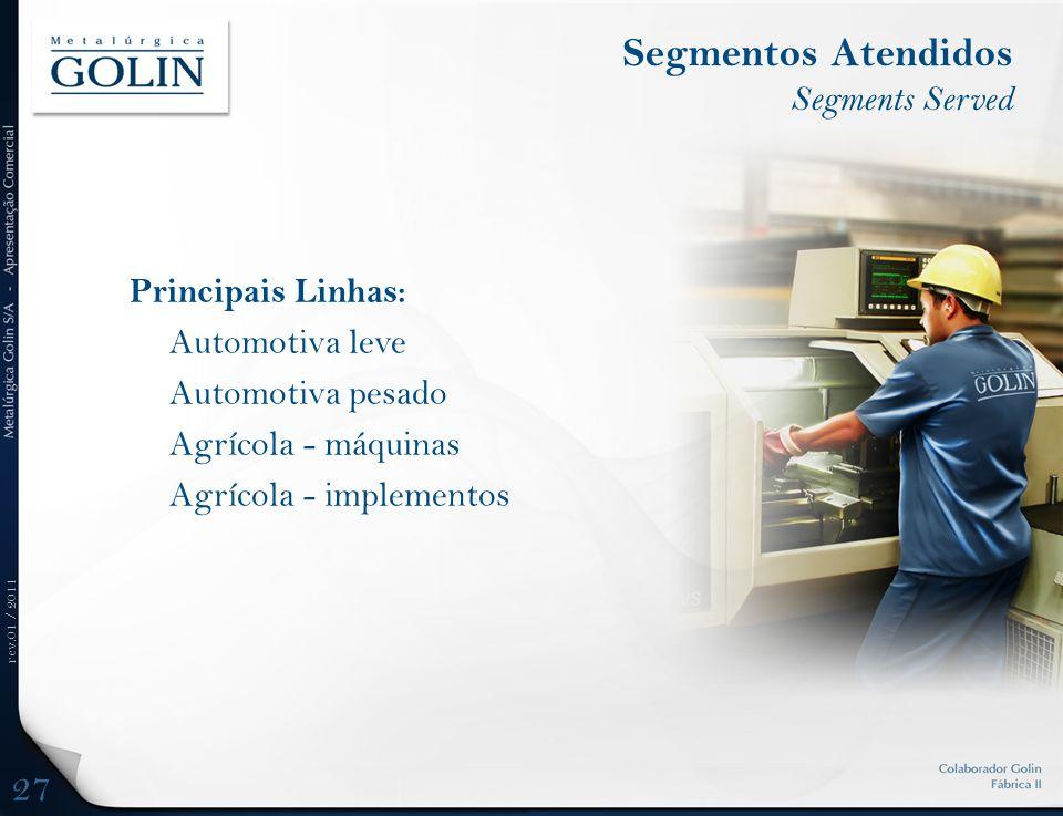 rev.01 / 2011 Principais Linhas: Automotiva leve Automotiva pesado Agrícola - máquinas Agrícola - implementos Segmentos Atendidos Segments Served 27