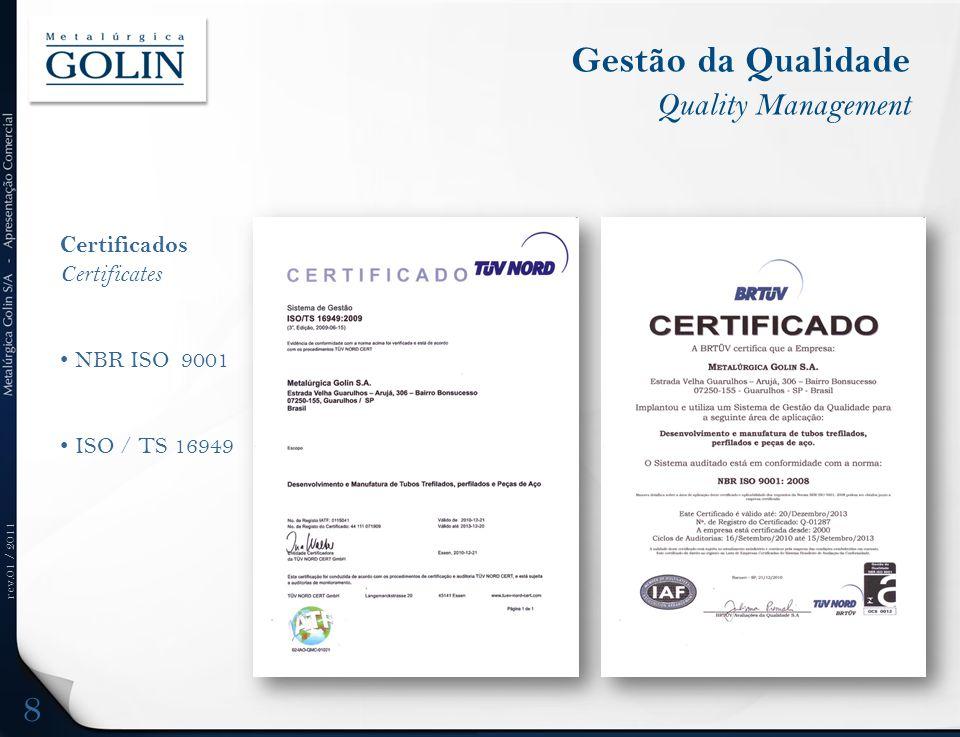 rev.01 / 2011 Gestão da Qualidade Quality Management Certificados Certificates NBR ISO 9001 ISO / TS 16949 8