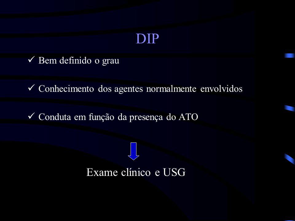 DIP Bem definido o grau Conhecimento dos agentes normalmente envolvidos Conduta em função da presença do ATO Exame clínico e USG
