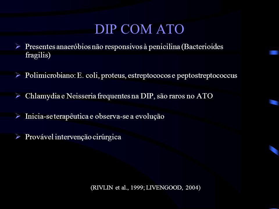 DIP COM ATO Presentes anaeróbios não responsivos à penicilina (Bacterioides fragilis) Polimicrobiano: E. coli, proteus, estreptococos e peptostreptoco