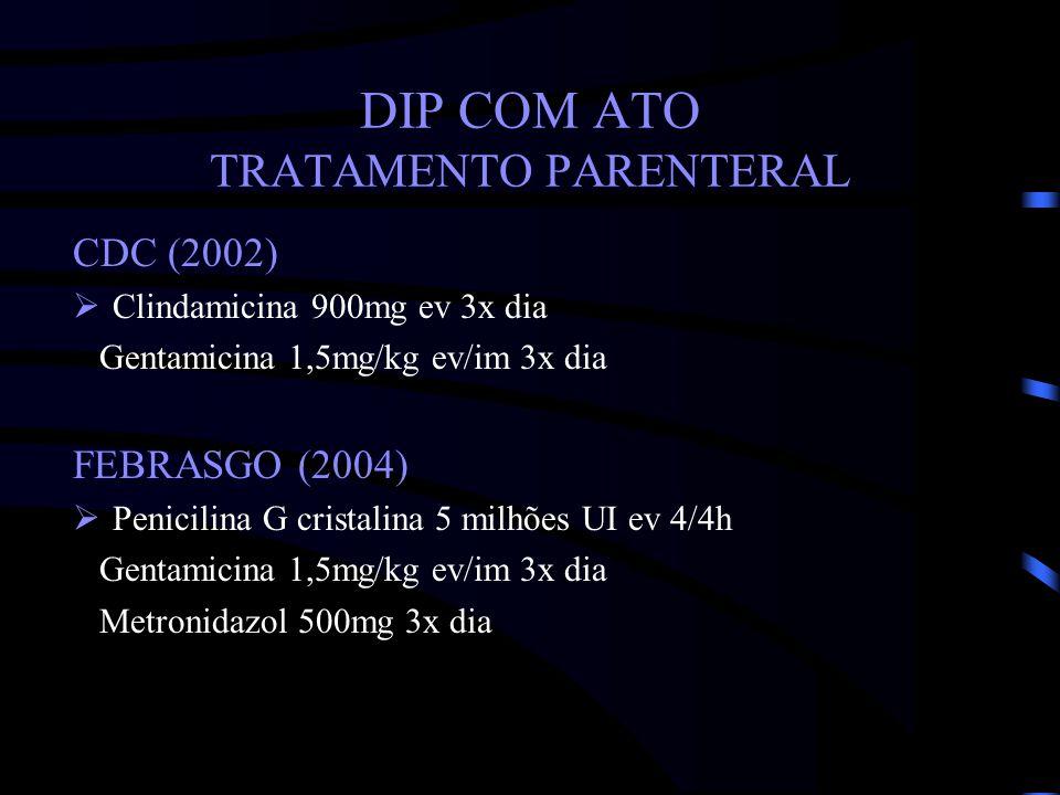 DIP COM ATO TRATAMENTO PARENTERAL CDC (2002) Clindamicina 900mg ev 3x dia Gentamicina 1,5mg/kg ev/im 3x dia FEBRASGO (2004) Penicilina G cristalina 5