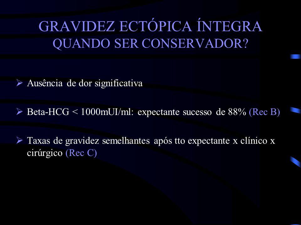 GRAVIDEZ ECTÓPICA ÍNTEGRA QUANDO SER CONSERVADOR? Ausência de dor significativa Beta-HCG < 1000mUI/ml: expectante sucesso de 88% (Rec B) Taxas de grav