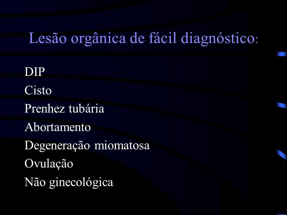 Lesão orgânica de fácil diagnóstico : DIP Cisto Prenhez tubária Abortamento Degeneração miomatosa Ovulação Não ginecológica