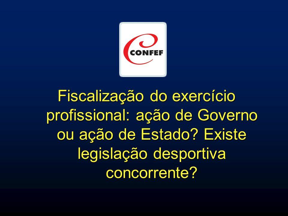 Fiscalização do exercício profissional: ação de Governo ou ação de Estado? Existe legislação desportiva concorrente?