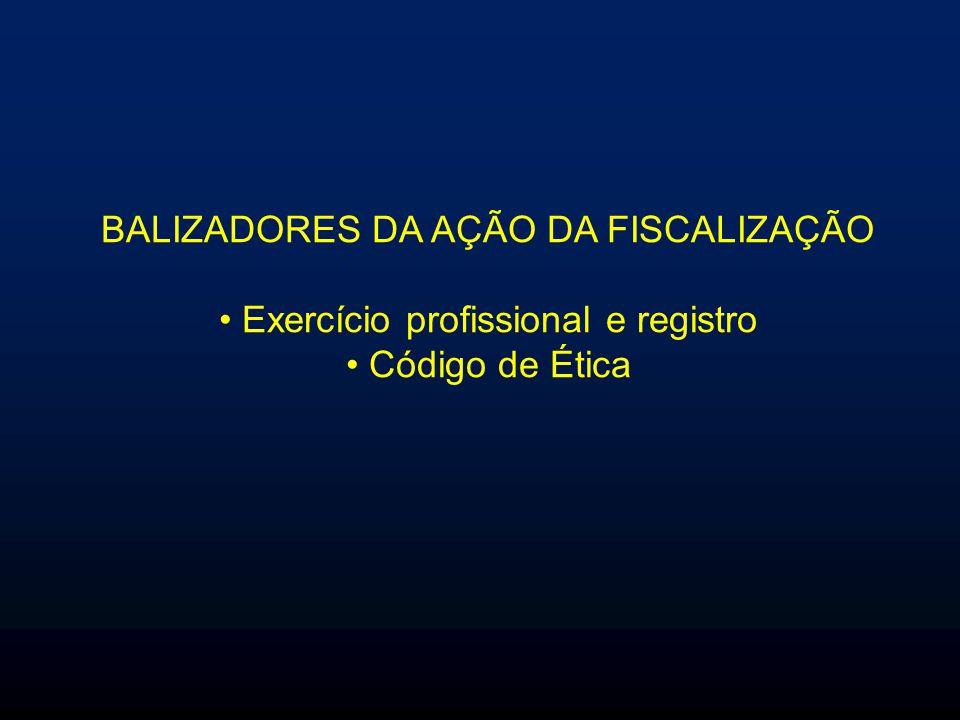 BALIZADORES DA AÇÃO DA FISCALIZAÇÃO Exercício profissional e registro Código de Ética