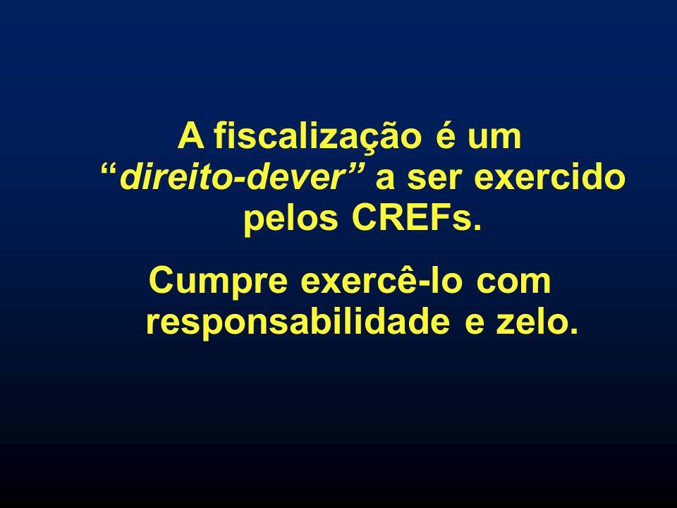 A fiscalização é umdireito-dever a ser exercido pelos CREFs. Cumpre exercê-lo com responsabilidade e zelo.