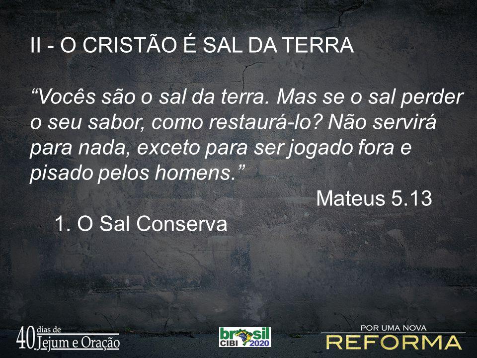 II - O CRISTÃO É SAL DA TERRA Vocês são o sal da terra.