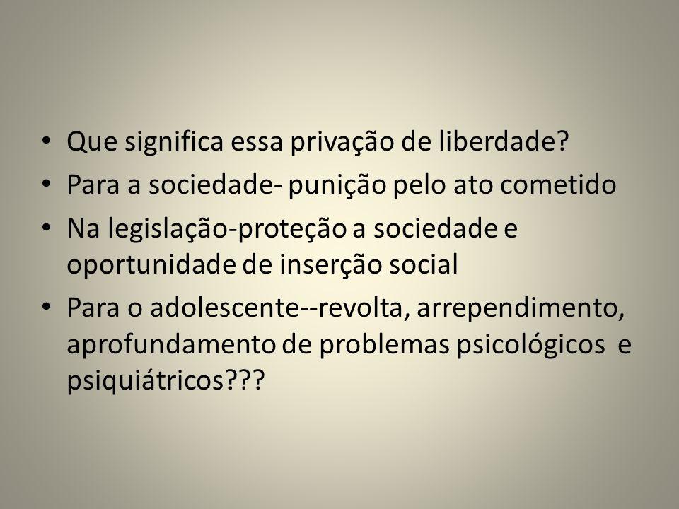 Que significa essa privação de liberdade? Para a sociedade- punição pelo ato cometido Na legislação-proteção a sociedade e oportunidade de inserção so
