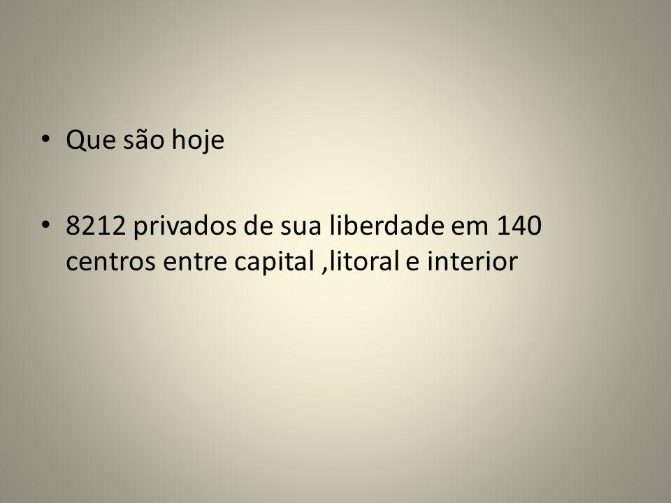 Que são hoje 8212 privados de sua liberdade em 140 centros entre capital,litoral e interior