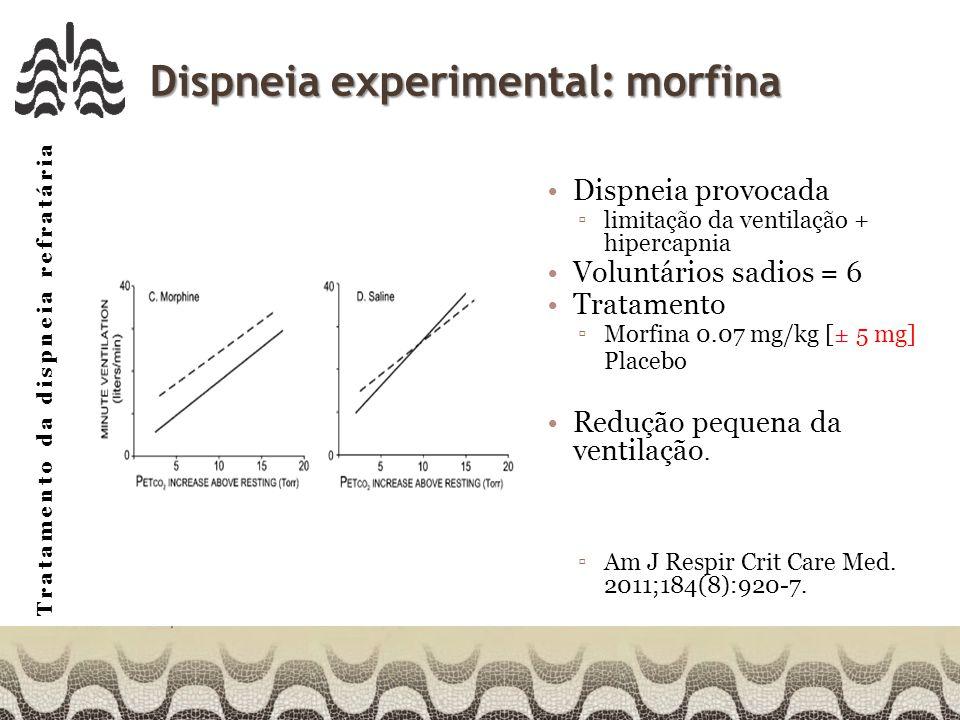 Tratamento da dispneia refratária Dispneia experimental: morfina Dispneia provocada limitação da ventilação + hipercapnia Voluntários sadios = 6 Tratamento Morfina 0.07 mg/kg [± 5 mg] Placebo Redução pequena da ventilação.