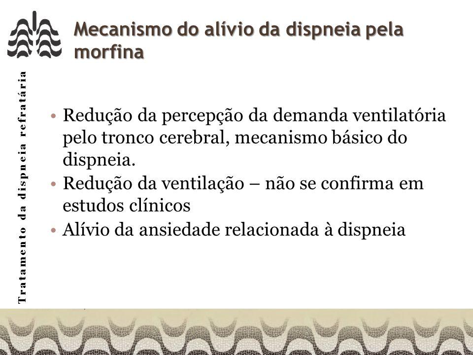 Tratamento da dispneia refratária Mecanismo do alívio da dispneia pela morfina Redução da percepção da demanda ventilatória pelo tronco cerebral, mecanismo básico do dispneia.