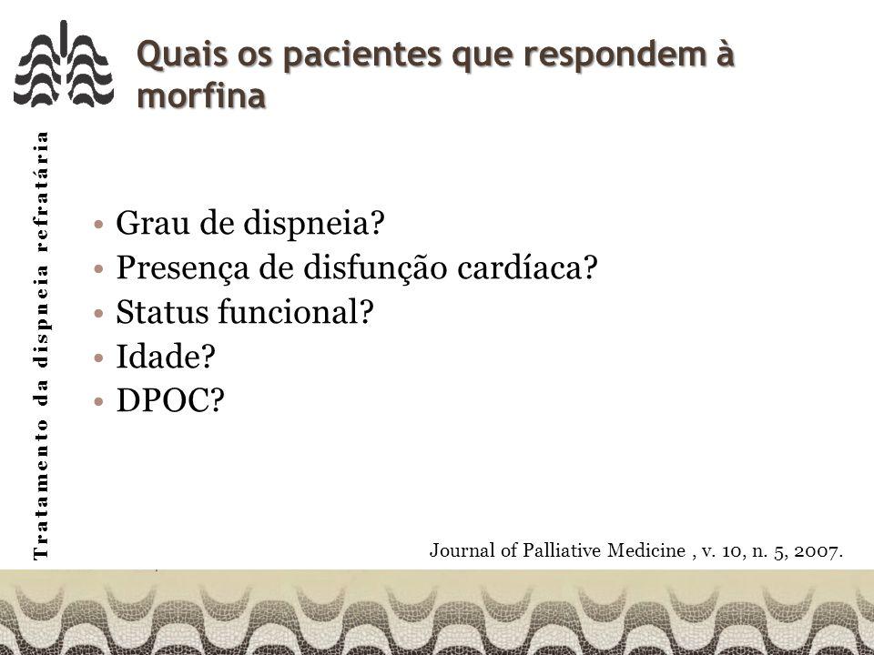 Tratamento da dispneia refratária Quais os pacientes que respondem à morfina Grau de dispneia.