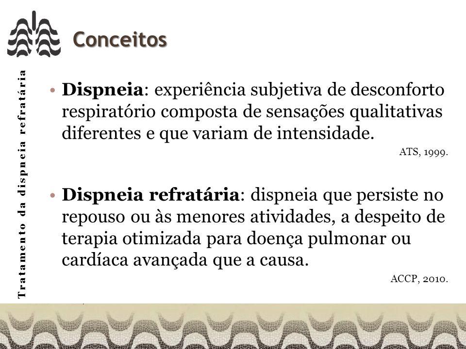 Tratamento da dispneia refratária Outras medidas não farmacológicas Afirmativa%FaixaM A respiração com os lábios cerrados pode ser estratégia efetiva para o alívio da dispneia em pacientes com DPA 762-54,0 Manobras de relaxamento podem ser efetivas para o alívio da dispneia em portadores de DPA 853-54,1 A VNI pode promover alívio da dispneia em portadores de DPA 821-54,1 Ar fresco ou o movimento do ar frio em direção à face podem se efetivos para o alívio da dispneia em portadores de DPA 611-53,7