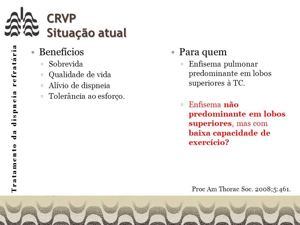 Tratamento da dispneia refratária CRVP Situação atual Benefícios Sobrevida Qualidade de vida Alívio de dispneia Tolerância ao esforço.