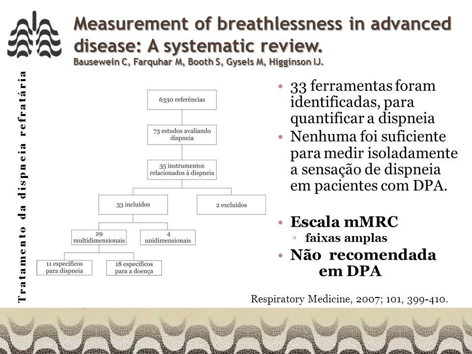 Tratamento da dispneia refratária Morfina X oxigênio Opiáceos X O2 para alívio de dispneia em pacientes hipoxêmicos e não hipoxêmicos Hipoxêmicos = 18 Não hipoxêmicos = 28 O uso de oxigênio não melhora a dispneia em repouso, nem mesmo em pacientes hipoxêmicos.