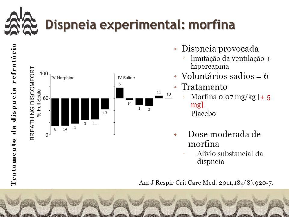 Tratamento da dispneia refratária Dispneia experimental: morfina Dispneia provocada limitação da ventilação + hipercapnia Voluntários sadios = 6 Tratamento Morfina 0.07 mg/kg [± 5 mg] Placebo Dose moderada de morfina Alívio substancial da dispneia Am J Respir Crit Care Med.