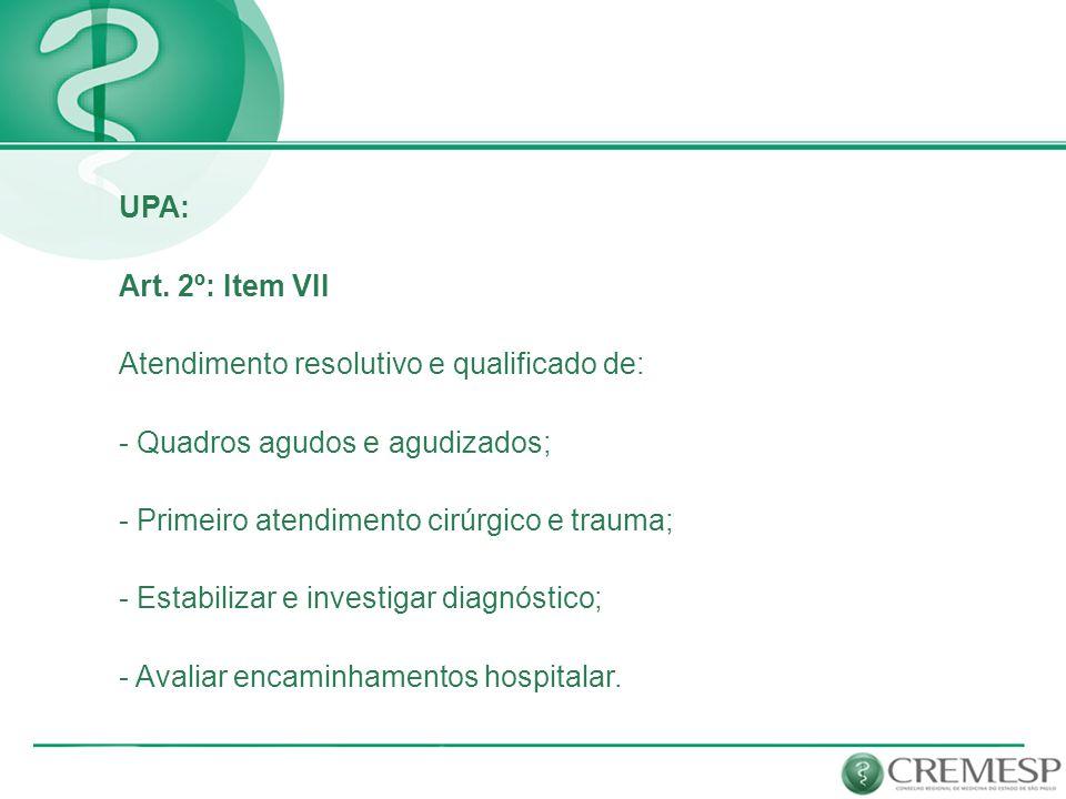 UPAPOPULAÇÃO DA ÁREA DE ABRANGÊNCIA DA UPA ÁREA FÍSICA MÍNIMA NÚMERO DE ATENDIMENTOS MÉDICOS EM 24 HORAS NÚMERO MÍNIMO DE MÉDICOS POR PLANTÃO NÚMERO MÍNIMO DE LEITOS DE OBSERVAÇÃO PORTE I50.000 a 100.000 habitantes 700 m²até 150 pacientes2 médicos7 leitos PORTE II100.001 a 200.000 habitantes 1.000 m²até 300 pacientes4 médicos11 leitos PORTE III 200.001 a 300.000 habitantes 1.300 m²até 450 pacientes6 médicos15 leitos Classificação das UPAS: