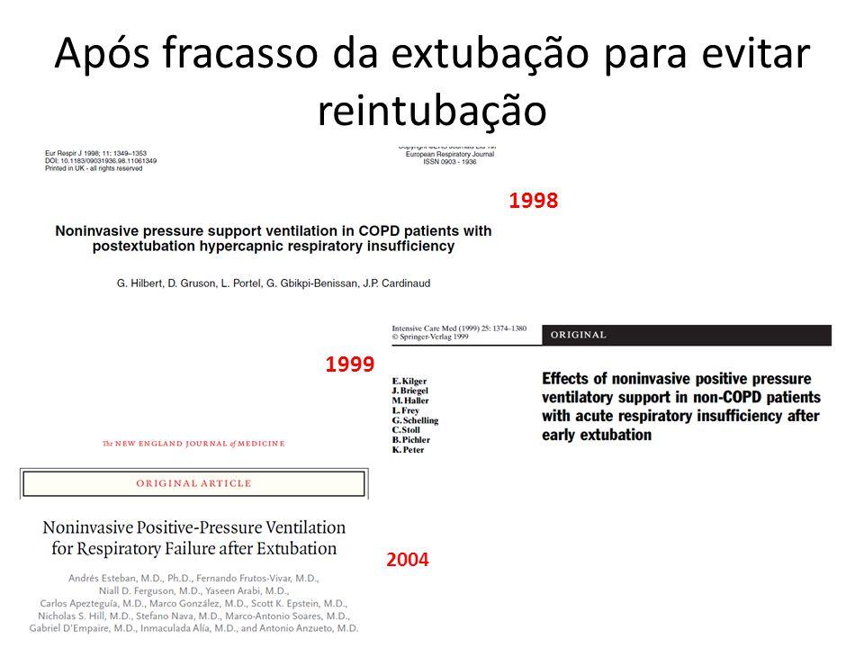 Após fracasso da extubação para evitar reintubação 1998 1999 2004