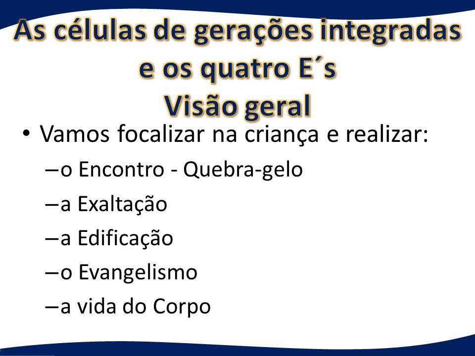 Vamos focalizar na criança e realizar: – o Encontro - Quebra-gelo – a Exaltação – a Edificação – o Evangelismo – a vida do Corpo