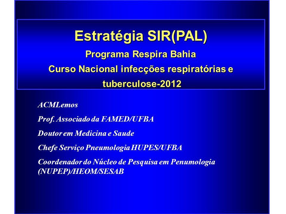 Estratégia SIR(PAL) Programa Respira Bahia Curso Nacional infecções respiratórias e tuberculose-2012 tuberculose-2012 ACMLemos Prof.