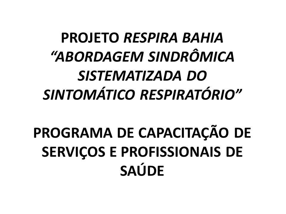 PROJETO RESPIRA BAHIA ABORDAGEM SINDRÔMICA SISTEMATIZADA DO SINTOMÁTICO RESPIRATÓRIO PROGRAMA DE CAPACITAÇÃO DE SERVIÇOS E PROFISSIONAIS DE SAÚDE