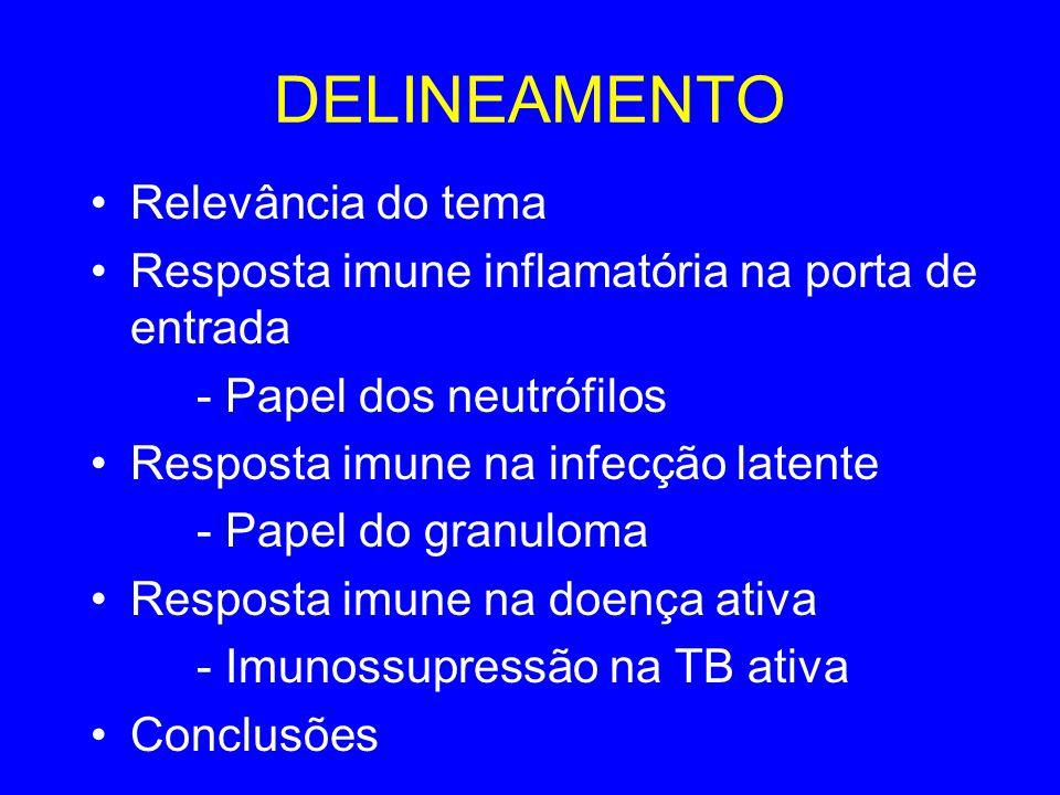 DELINEAMENTO Relevância do tema Resposta imune inflamatória na porta de entrada - Papel dos neutrófilos Resposta imune na infecção latente - Papel do