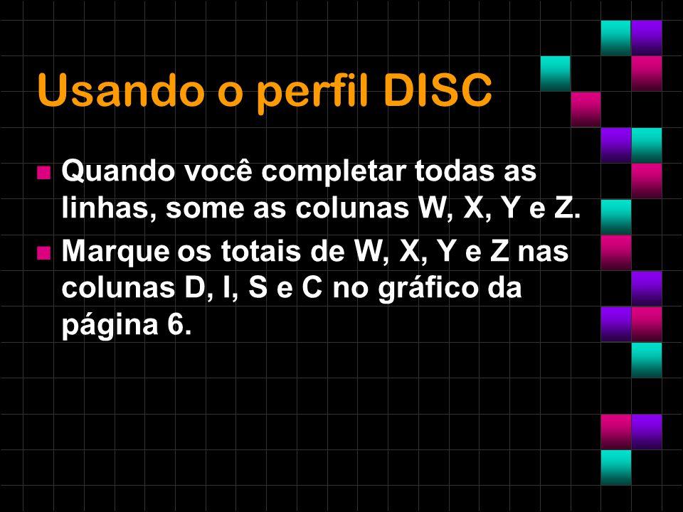 Usando o perfil DISC Quando você completar todas as linhas, some as colunas W, X, Y e Z. Marque os totais de W, X, Y e Z nas colunas D, I, S e C no gr