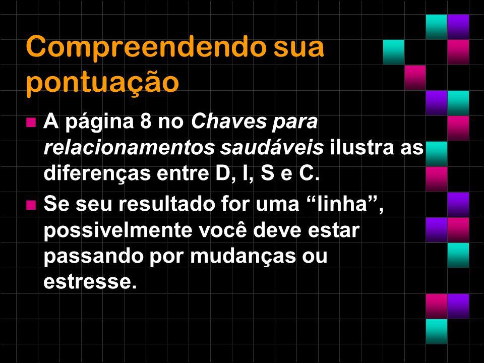 Compreendendo sua pontuação A página 8 no Chaves para relacionamentos saudáveis ilustra as diferenças entre D, I, S e C. Se seu resultado for uma linh