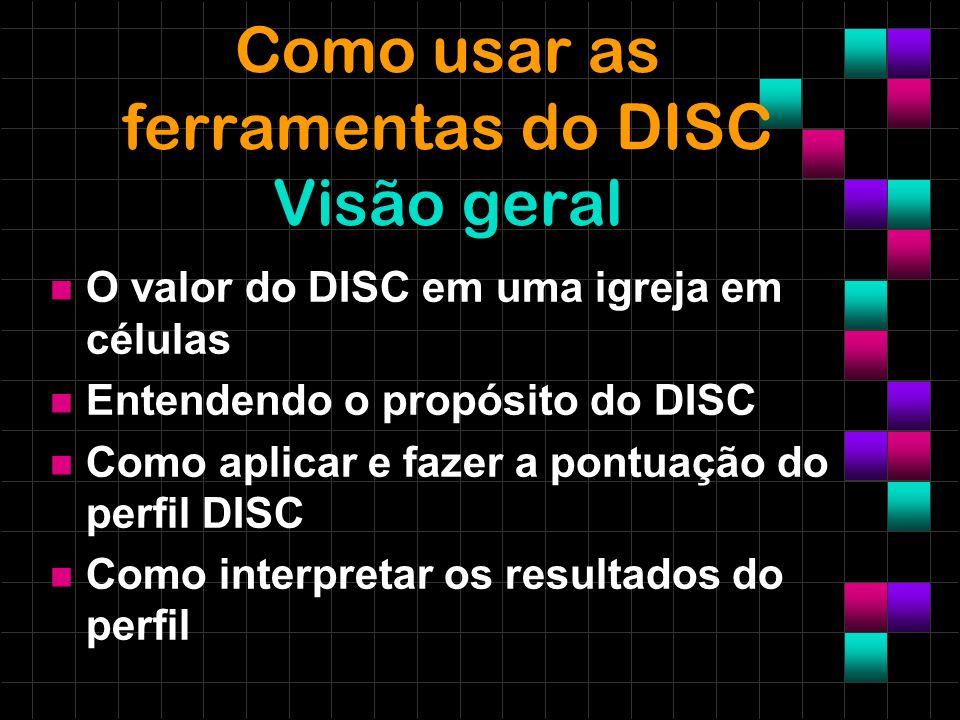 Como usar as ferramentas do DISC Visão geral O valor do DISC em uma igreja em células Entendendo o propósito do DISC Como aplicar e fazer a pontuação