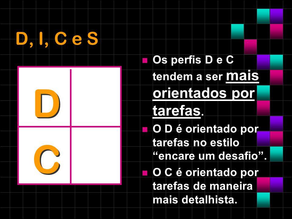 D, I, C e S Os perfis D e C tendem a ser mais orientados por tarefas. O D é orientado por tarefas no estilo encare um desafio. O C é orientado por tar