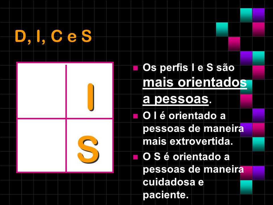 D, I, C e S Os perfis I e S são mais orientados a pessoas. O I é orientado a pessoas de maneira mais extrovertida. O S é orientado a pessoas de maneir