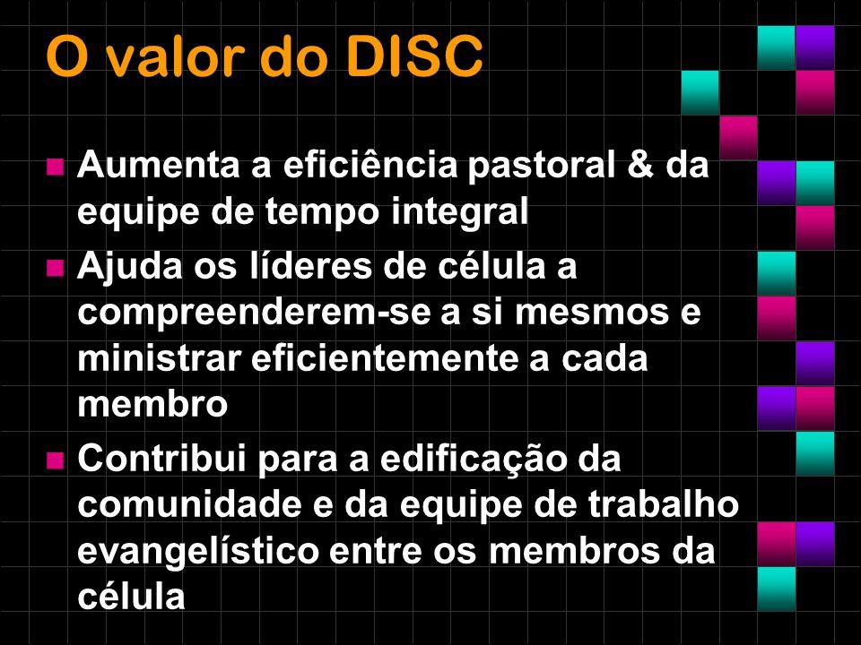 O valor do DISC Aumenta a eficiência pastoral & da equipe de tempo integral Ajuda os líderes de célula a compreenderem-se a si mesmos e ministrar efic