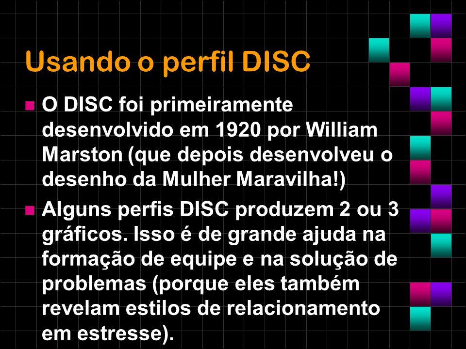 Usando o perfil DISC O DISC foi primeiramente desenvolvido em 1920 por William Marston (que depois desenvolveu o desenho da Mulher Maravilha!) Alguns