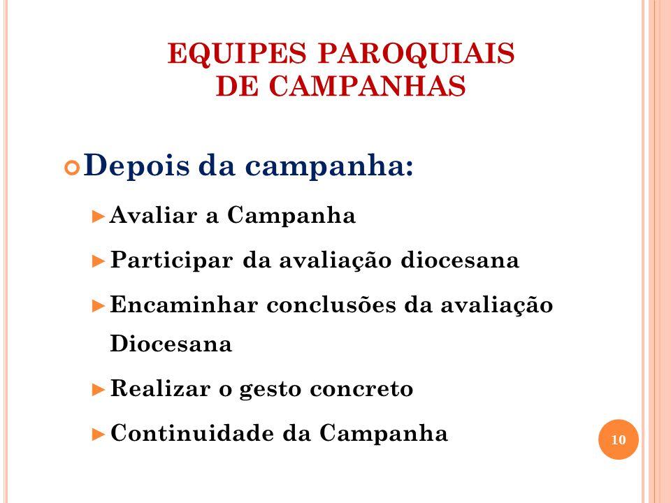 EQUIPES PAROQUIAIS DE CAMPANHAS Depois da campanha: Avaliar a Campanha Participar da avaliação diocesana Encaminhar conclusões da avaliação Diocesana Realizar o gesto concreto Continuidade da Campanha 10
