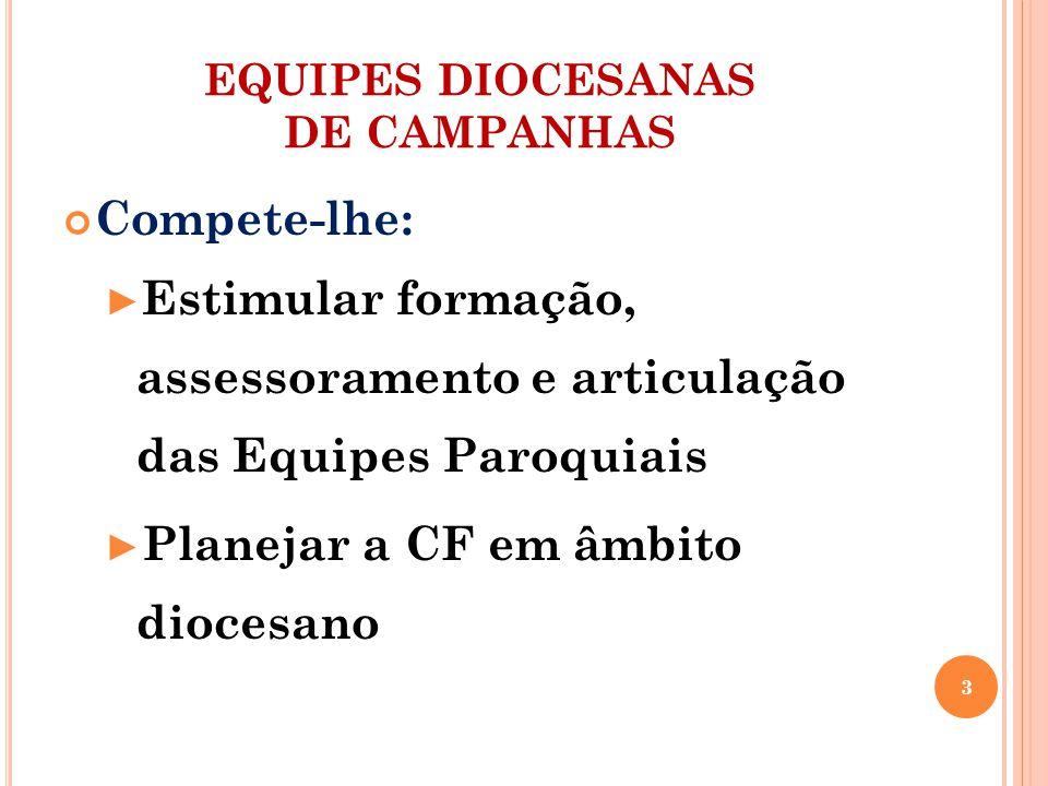 EQUIPES DIOCESANAS DE CAMPANHAS Compete-lhe: Estimular formação, assessoramento e articulação das Equipes Paroquiais Planejar a CF em âmbito diocesano 3
