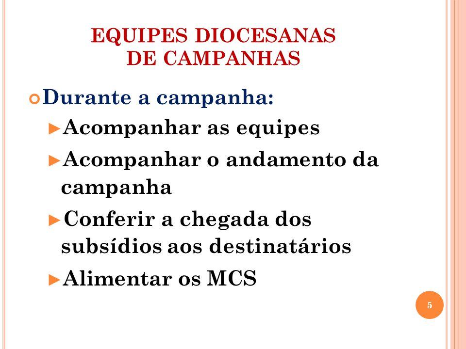 EQUIPES DIOCESANAS DE CAMPANHAS Depois da campanha: Encontro diocesano de avaliação Envio da avaliação para o Regional Gesto concreto e repasse da coleta Continuidade da Campanha 6
