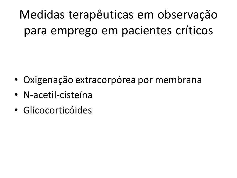 Medidas terapêuticas em observação para emprego em pacientes críticos Oxigenação extracorpórea por membrana N-acetil-cisteína Glicocorticóides