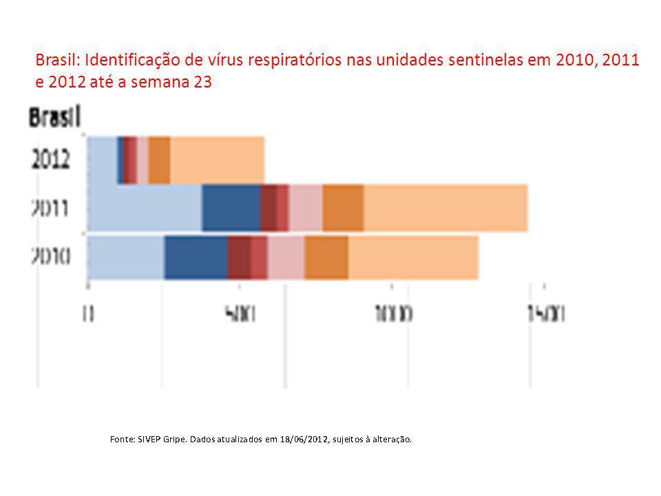 Brasil: Identificação de vírus respiratórios nas unidades sentinelas em 2010, 2011 e 2012 até a semana 23