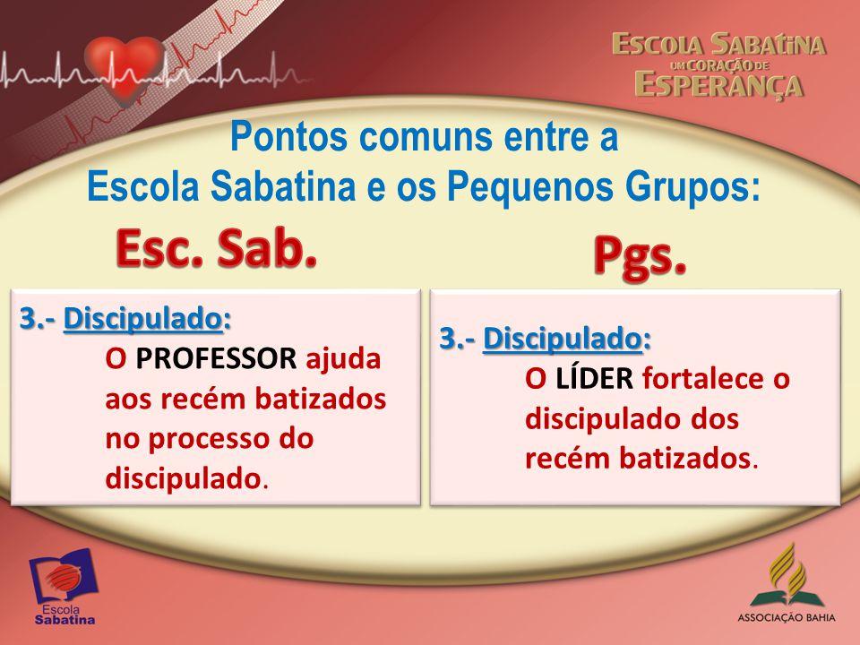 Pontos comuns entre a Escola Sabatina e os Pequenos Grupos: 4.- Levam os Convidados ao programa da Escola Sabatina.