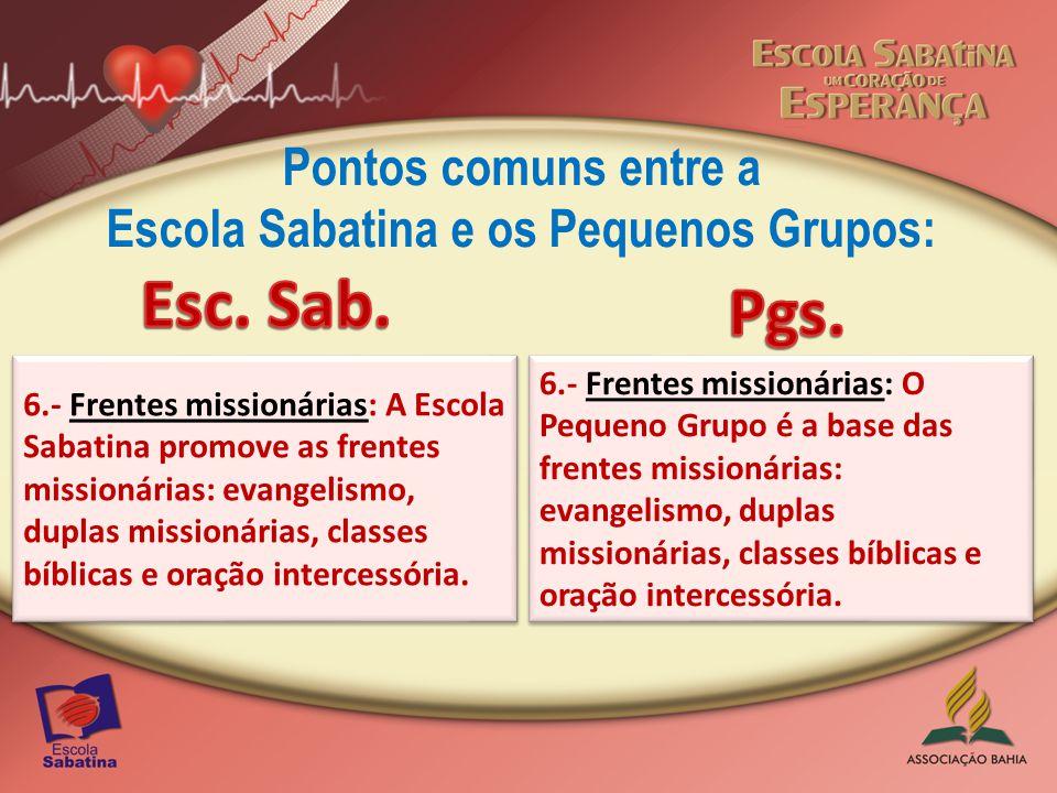 Pontos comuns entre a Escola Sabatina e os Pequenos Grupos: 7.- Unidade: A unidade local e mundial é promovida através da lição da Escola Sabatina, do informativo missionário e das ofertas para as missões mundiais.