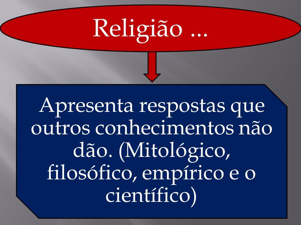 Religião... Apresenta respostas que outros conhecimentos não dão. (Mitológico, filosófico, empírico e o científico)