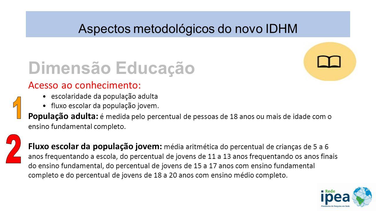 Dimensão Educa ç ão População adulta Fluxo escolar da população jovem: Aspectos metodológicos do novo IDHM