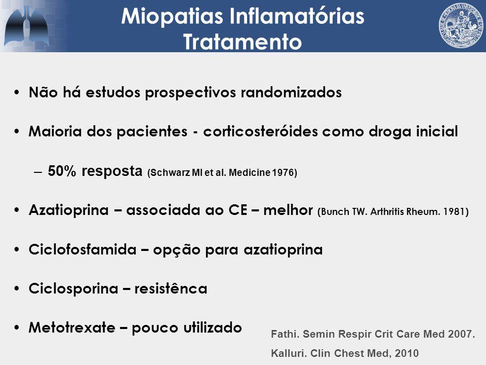 Não há estudos prospectivos randomizados Maioria dos pacientes - corticosteróides como droga inicial –50% resposta (Schwarz MI et al. Medicine 1976) A