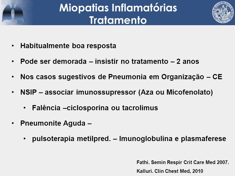 Habitualmente boa resposta Pode ser demorada – insistir no tratamento – 2 anos Nos casos sugestivos de Pneumonia em Organização – CE NSIP – associar i
