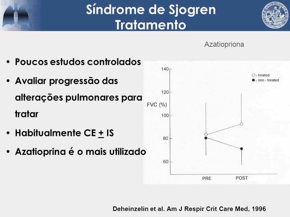 Poucos estudos controlados Avaliar progressão das alterações pulmonares para tratar Habitualmente CE + IS Azatioprina é o mais utilizado Deheinzelin e