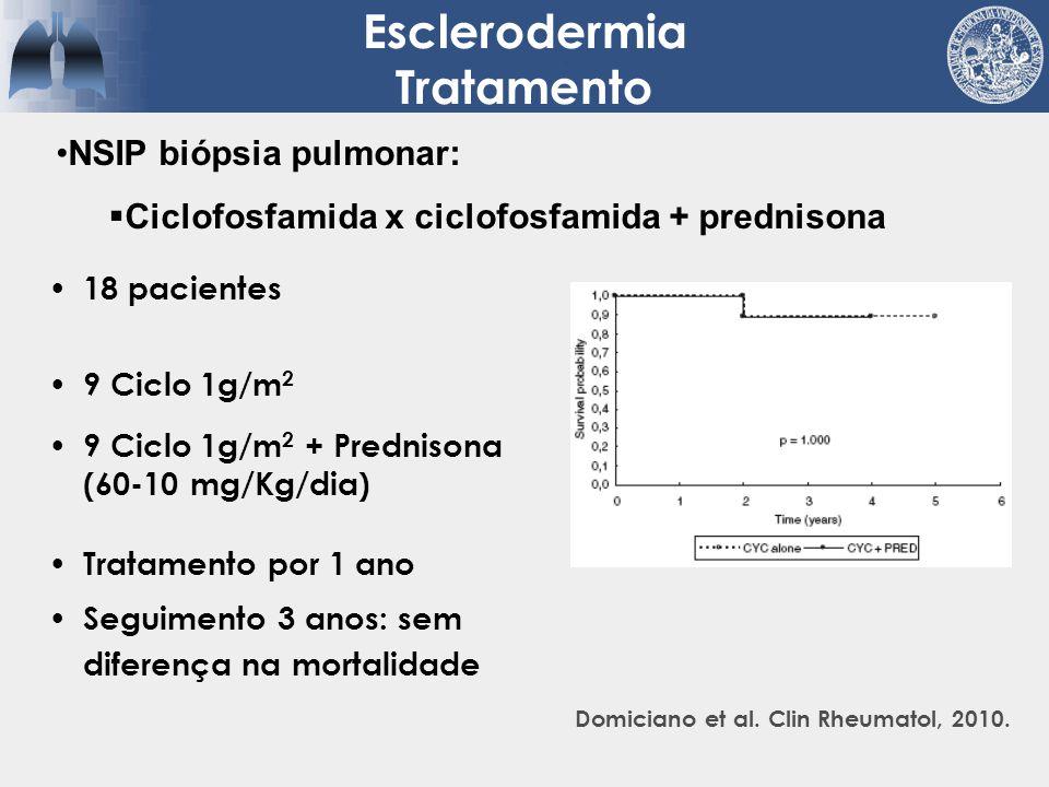 18 pacientes 9 Ciclo 1g/m 2 9 Ciclo 1g/m 2 + Prednisona (60-10 mg/Kg/dia) Tratamento por 1 ano Seguimento 3 anos: sem diferença na mortalidade Esclero