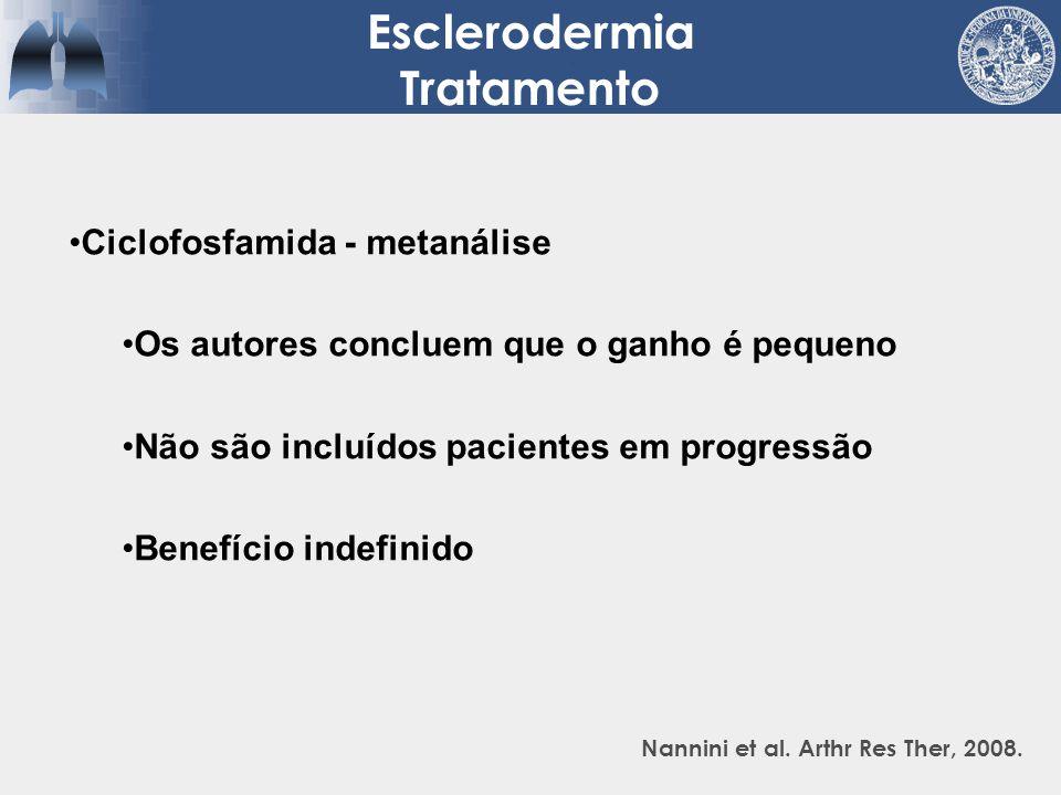 Esclerodermia Tratamento Nannini et al. Arthr Res Ther, 2008. Ciclofosfamida - metanálise Os autores concluem que o ganho é pequeno Não são incluídos